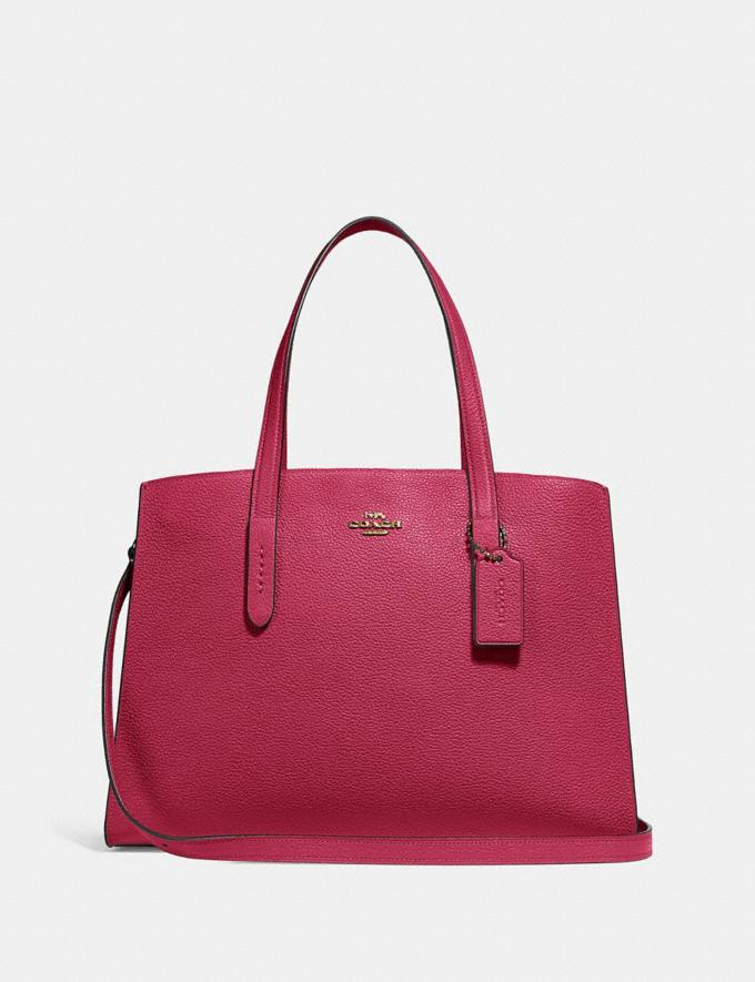 Coach Charlie Carryall Bright Cherry/Gold Women Collection Charlie