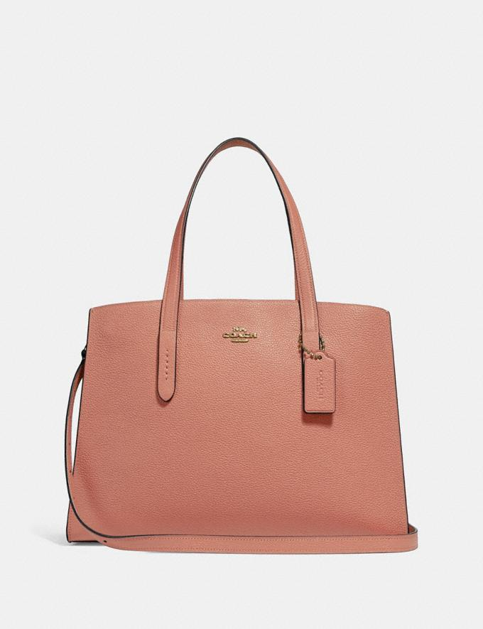 Coach Charlie Carryall Light Peach/Gold Women Bags Satchels