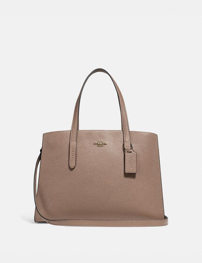 Coach Charlie Carryall Stone/Gold Women Handbags Satchels & Carryalls