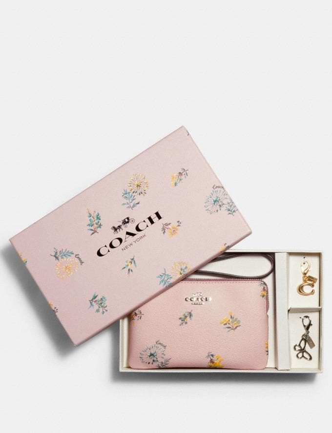 Coach Boxed Corner Zip Wristlet in Dandelion Floral Print Canvas Sv/Blossom Multi DEFAULT_CATEGORY