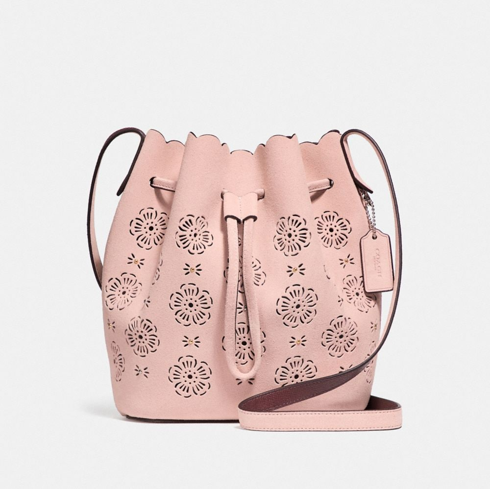 Bucket Bags - Cut Out Tea Rose Suede Bucket Bag 18 Peony - rose - Bucket Bags for ladies Coach