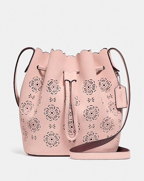 Bucket Bags - Cut Out Tea Rose Suede Bucket Bag 18 Peony - rose - Bucket Bags for ladies Coach XG72boy