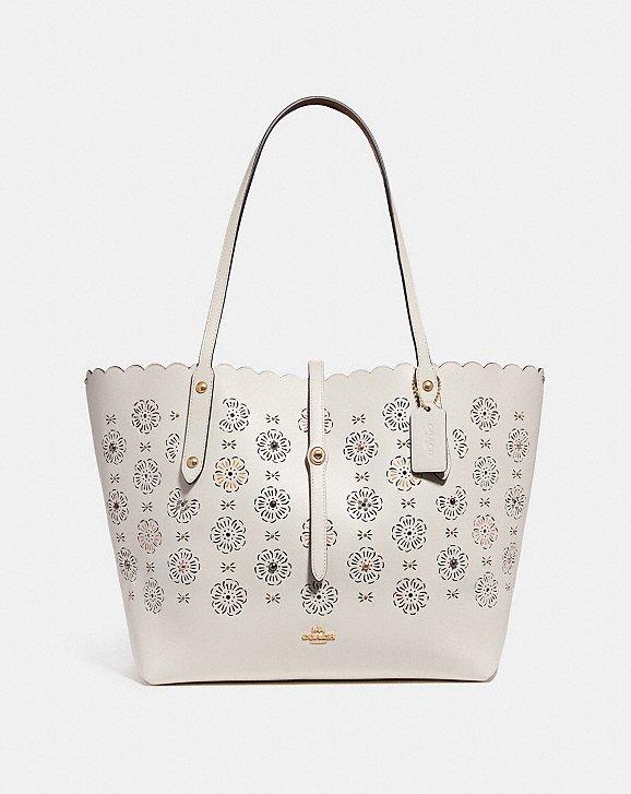 Market Tote Bag in Chalk Calfskin Coach 3JdAoK2q0