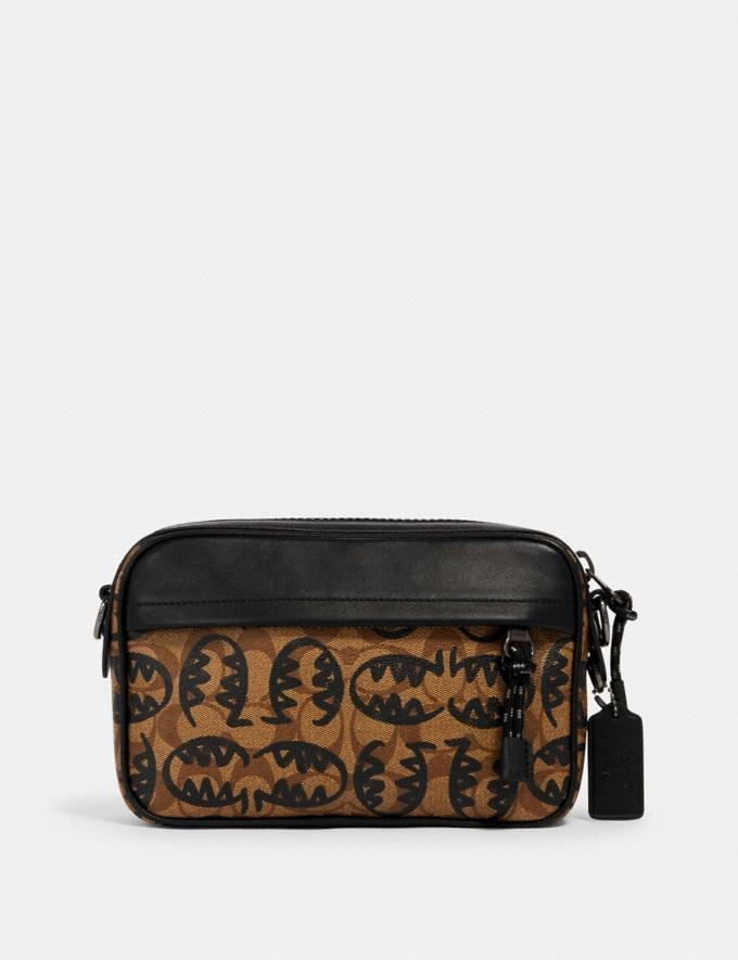 Coach Graham Crossbody in Signature Canvas With Rexy by Guang Yu Qb/Khaki Black