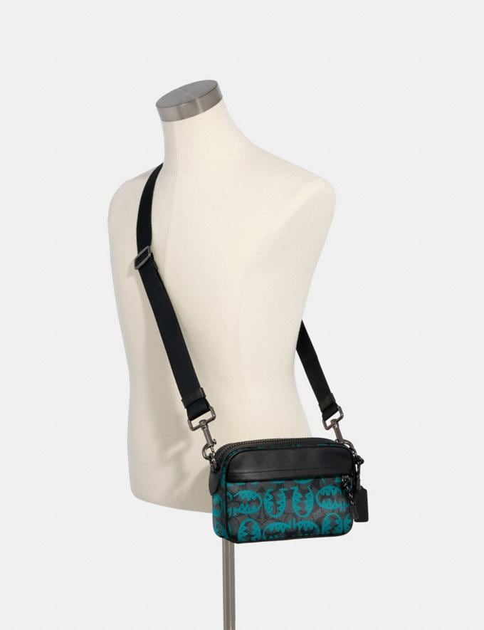 Coach Graham Crossbody in Signature Canvas With Rexy by Guang Yu Qb/Graphite Blue Green Men Bags Alternate View 2