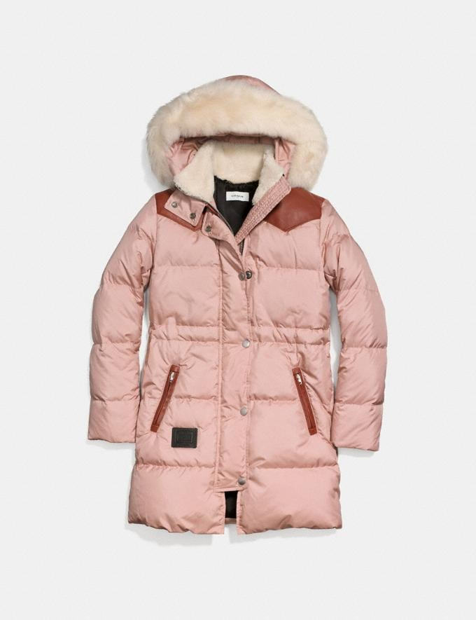 Coach Shearling Puffer Coat Dusty Pink