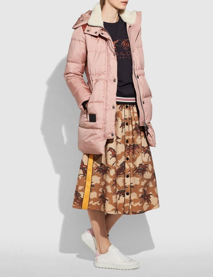 Coach Shearling Puffer Coat Dusty Pink  Alternate View 3