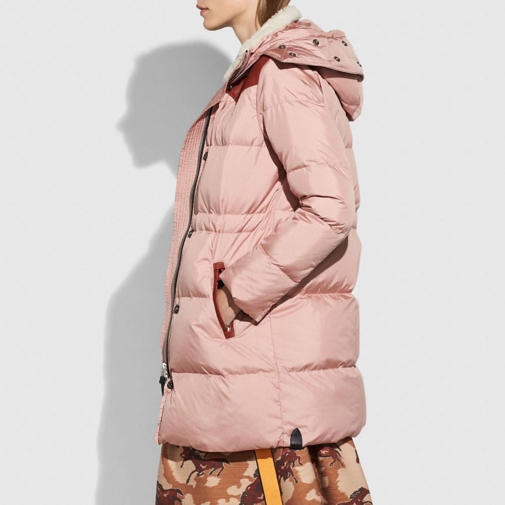 Coach Shearling Puffer Coat Alternate View 4
