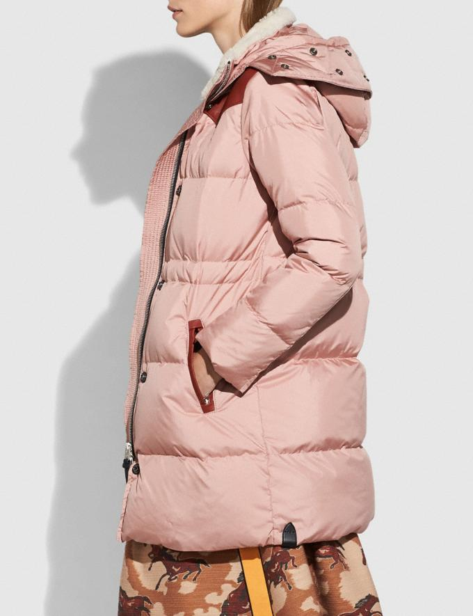 Coach Shearling Puffer Coat Dusty Pink  Alternate View 4