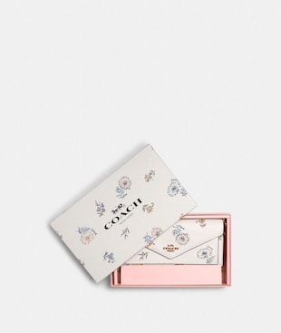 BOXED SLIM ENVELOPE WALLET WITH CHAIN WITH DANDELION FLORAL PRINT
