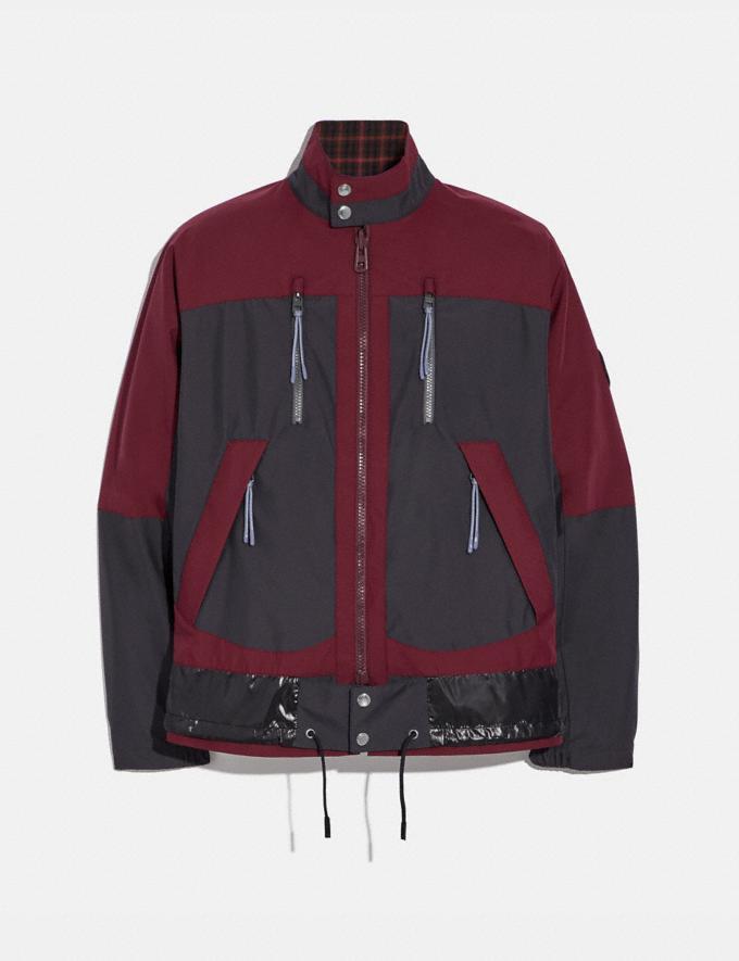 Coach Reversible Plaid Harrington Jacket Burgundy Grey Men Ready-to-Wear Coats & Jackets