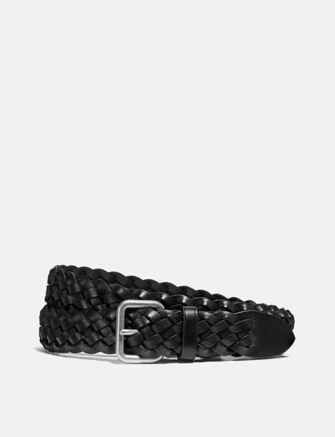 Coach Woven Belt Black/Brushed Nickel