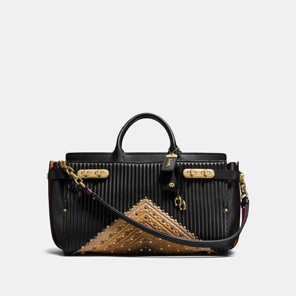 Coach Coach Double Swagger 43 With Colorblock Quilting and Rivets
