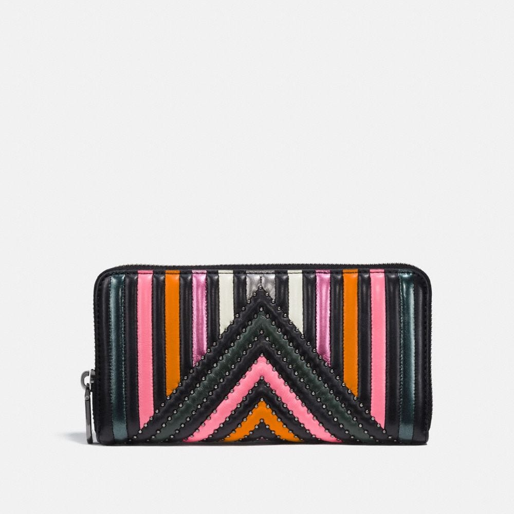 Coach Accordion Zip Wallet With Colorblock Quilting and Rivets