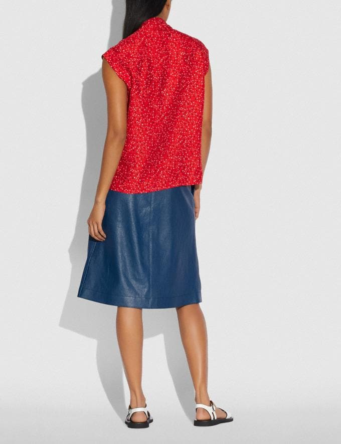 Coach Sleeveless Dot Print Drape Blouse Red/Black Women Ready-to-Wear Tops & T-shirts Alternate View 2