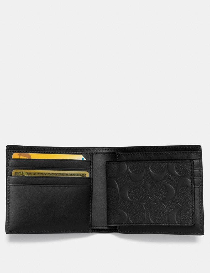 Coach 3-In-1 Wallet in Signature Leather Black Men Wallets Alternate View 1