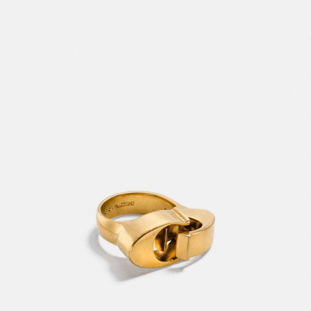 Coach Oversized Signature Chain Link Ring
