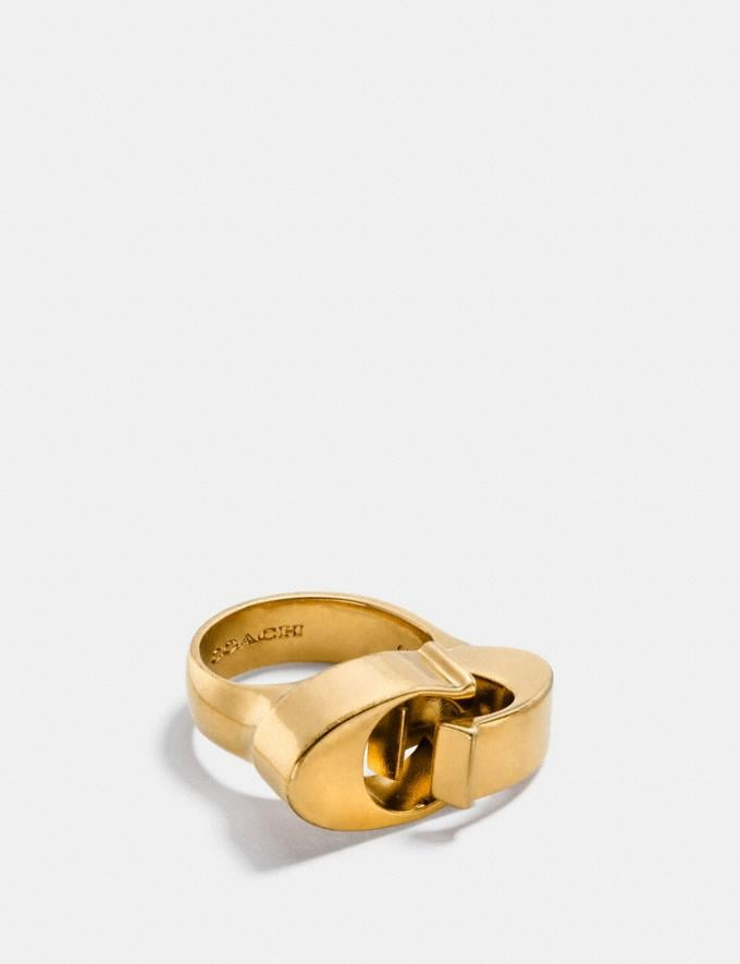 Coach Oversized Signature Chain Link Ring Gold