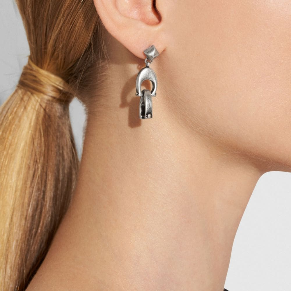 Coach Signature Chain Link Drop and Feather Earrings Alternate View 1