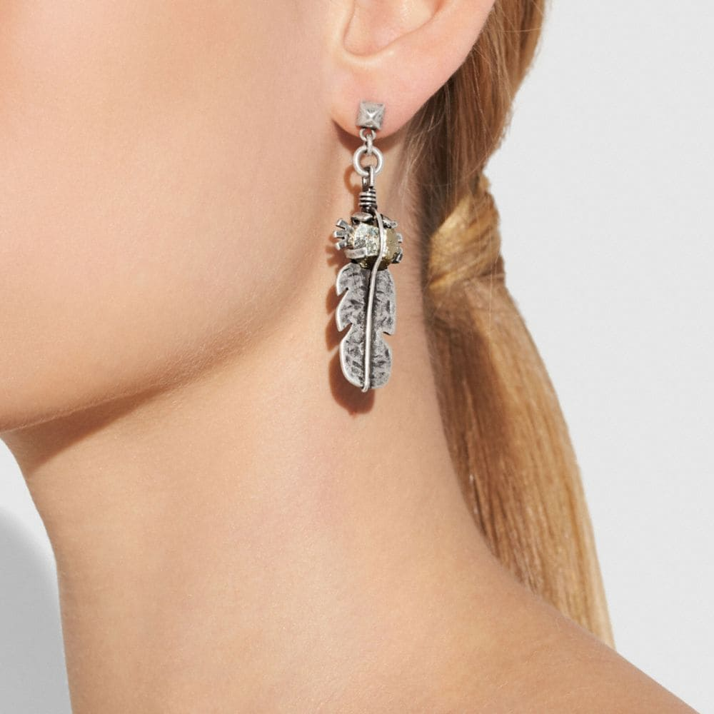 Coach Signature Chain Link Drop and Feather Earrings Alternate View 2