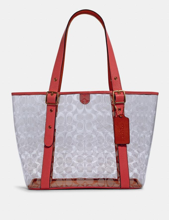 Coach Small Ferry Tote in Signature Clear Canvas Sv/Clear/ Midnight DEFAULT_CATEGORY