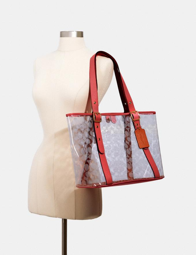 Coach Small Ferry Tote in Signature Clear Canvas Sv/Clear/ Midnight DEFAULT_CATEGORY Alternate View 2