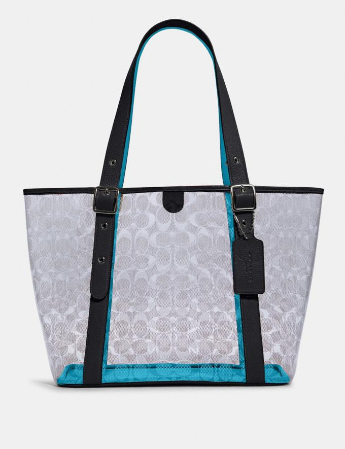 Coach Small Ferry Tote in Signature Clear Canvas Sv/Clear/ Midnight