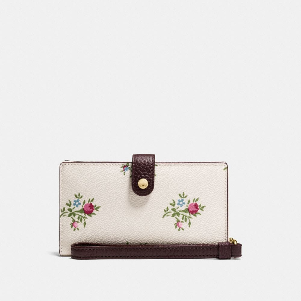 Coach Phone Wristlet With Cross Stitch Floral Print
