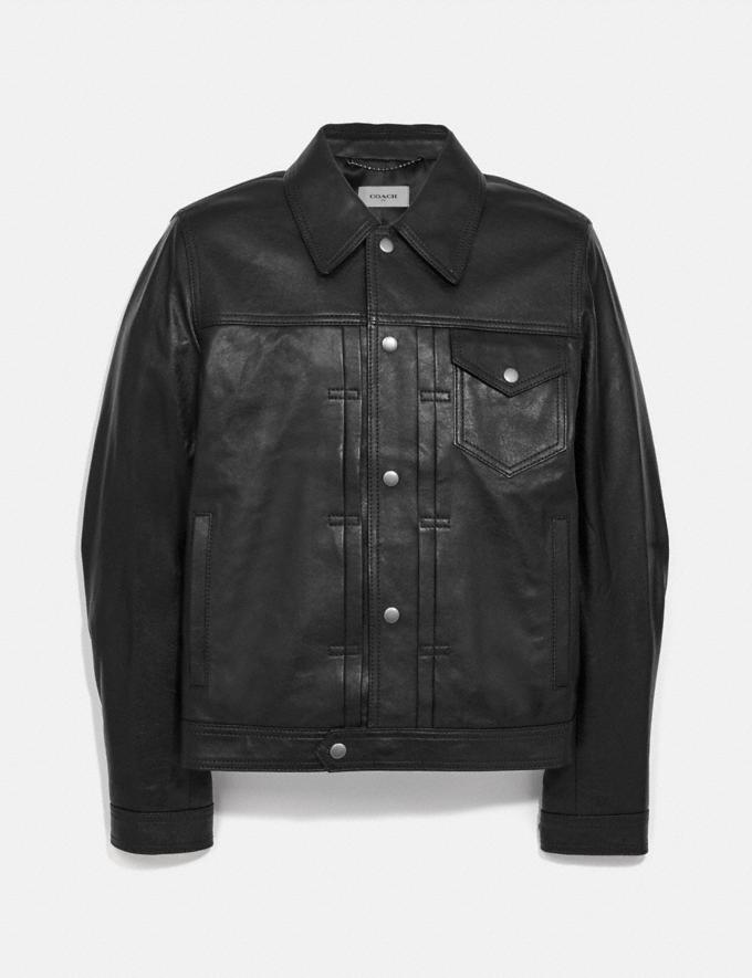 Coach Leather Trucker Jacket Black New Men's New Arrivals Ready-to-Wear