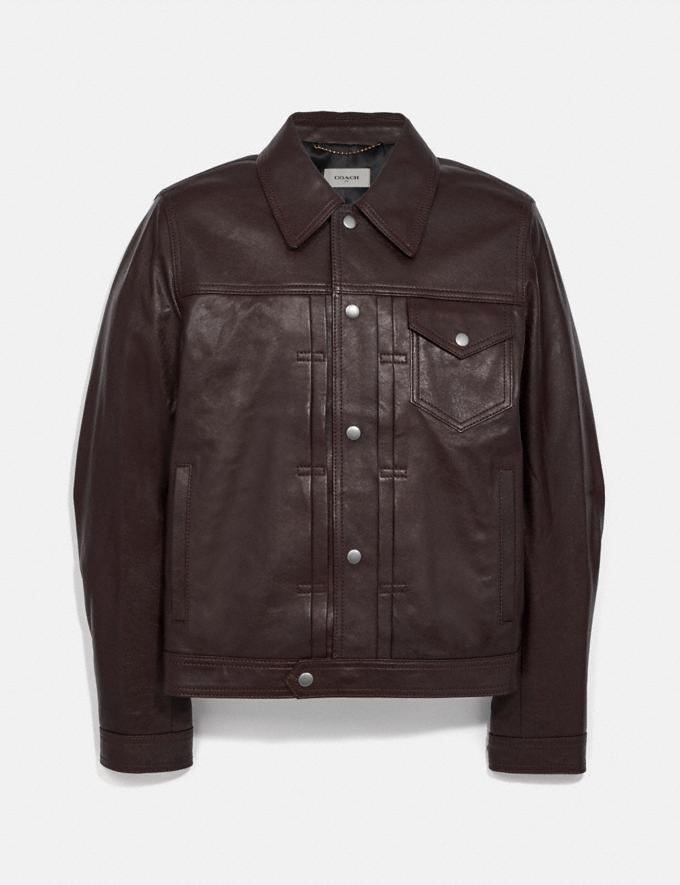 Coach Leather Trucker Jacket Brown New Men's New Arrivals Ready-to-Wear