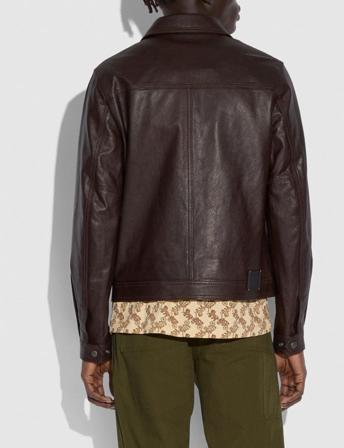 Coach Leather Trucker Jacket Brown New Men's New Arrivals Ready-to-Wear Alternate View 2