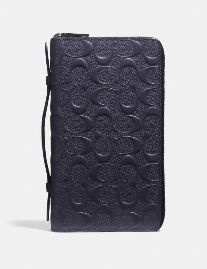 Coach Double Zip Travel Organizer in Signature Leather Midnight