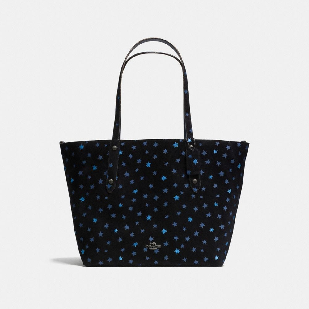 REVERSIBLE LARGE MARKET TOTE WITH STAR GLITTER PRINT