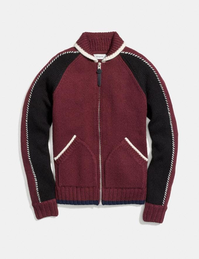 Coach Knit Zip Up Jacket Burgundy Men Ready-to-Wear Tops & Bottoms