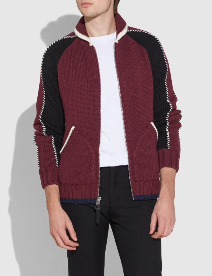 Coach Knit Zip Up Jacket Burgundy Men Ready-to-Wear Tops & Bottoms Alternate View 1