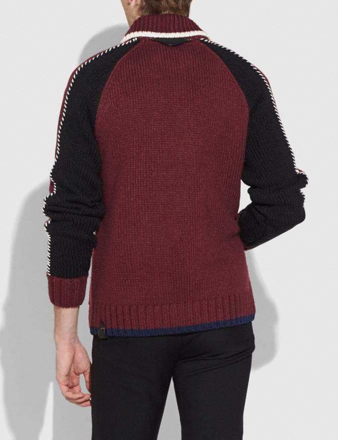 Coach Knit Zip Up Jacket Burgundy Men Ready-to-Wear Tops & Bottoms Alternate View 2