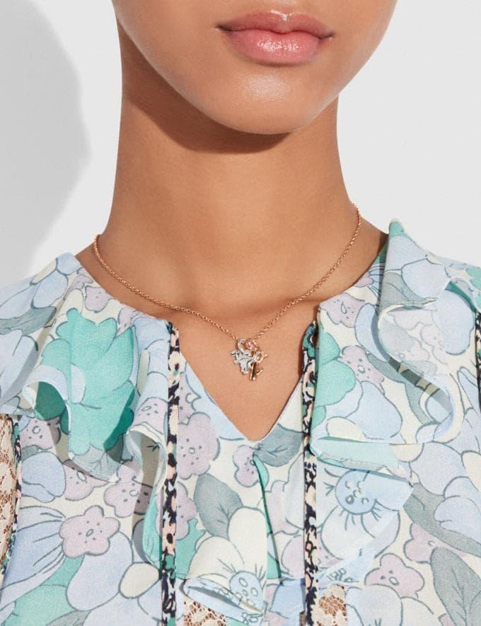 Coach Demi-Fine Miniature Charm Toggle Necklace Multi Women Accessories Jewelry Necklaces Alternate View 3