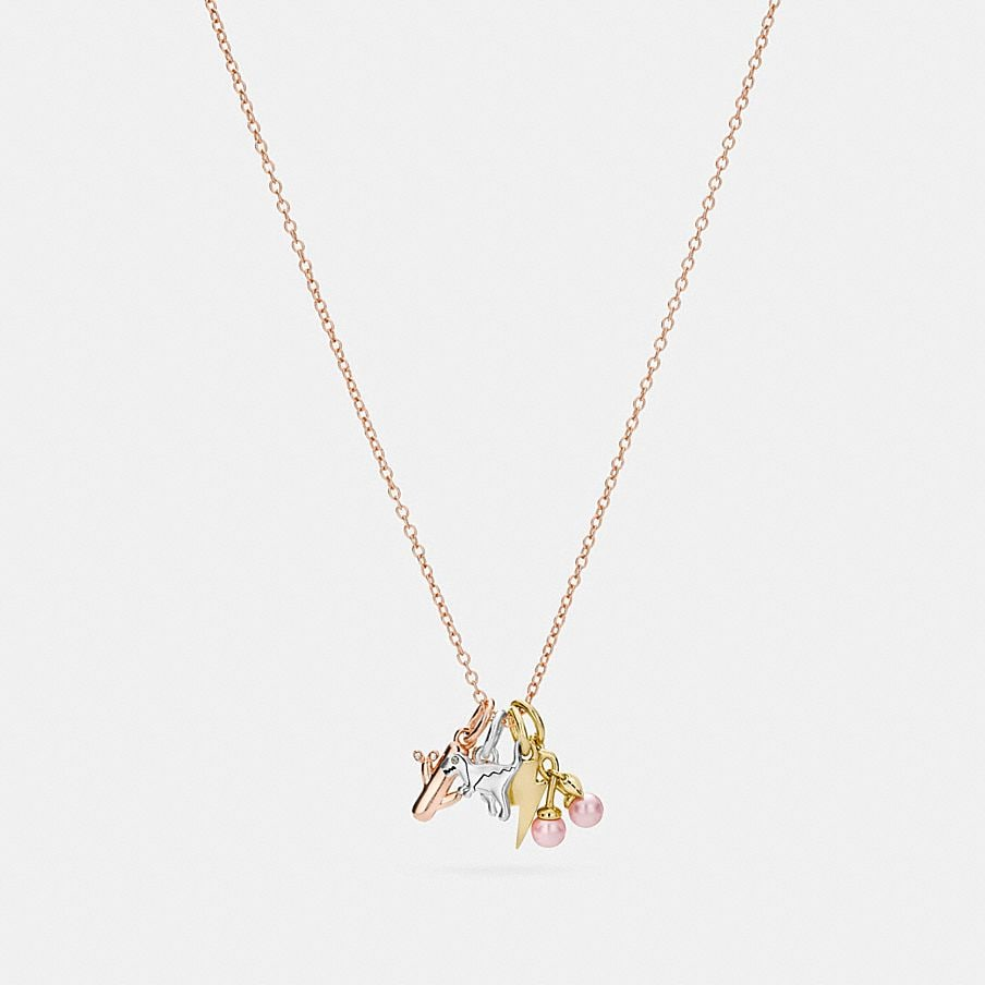 18K GOLD PLATED MINIATURE CHARM TOGGLE NECKLACE