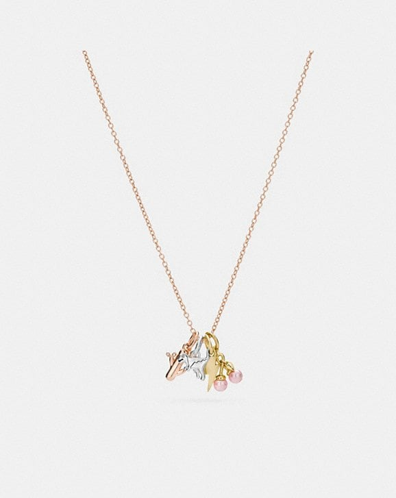 Coach DEMI-FINE MINIATURE CHARM TOGGLE NECKLACE