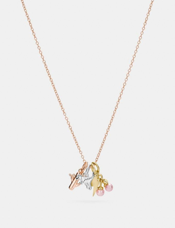 Coach Demi-Fine Miniature Charm Toggle Necklace Multi Gifts For Her