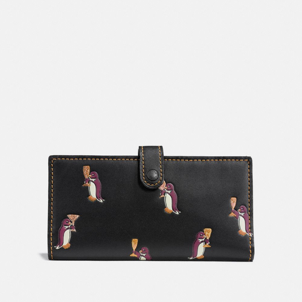 SLIM TRIFOLD WALLET WITH PENGUIN PRINT
