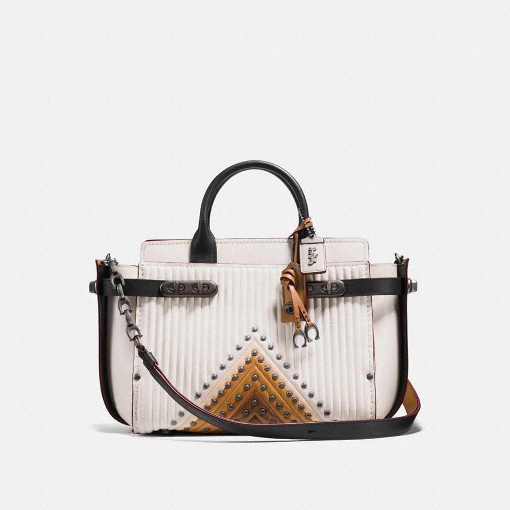 COACH DOUBLE SWAGGER WITH COLORBLOCK QUILTING AND RIVETS