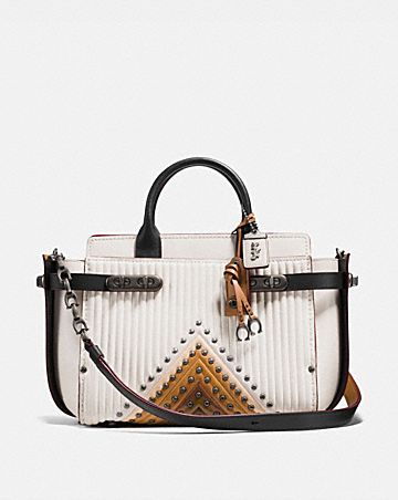 Coach Double Swagger With Colorblock Quilting