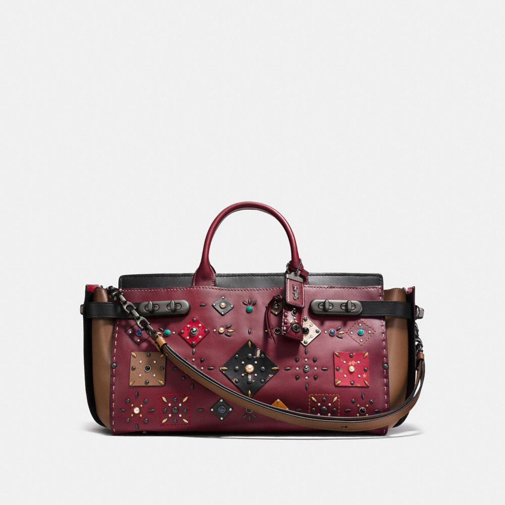 Coach Double Swagger 43 With Patchwork Prairie Rivets And Snakeskin Detail by Coach