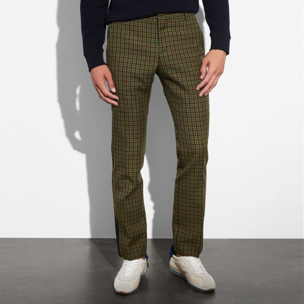 Coach Gingham Straight Leg Trouser