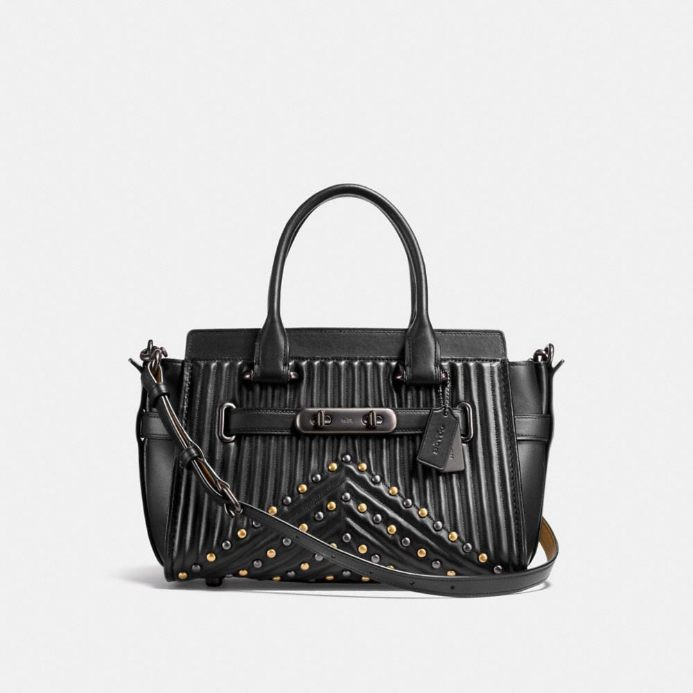 COACH SWAGGER 27 WITH QUILTING AND RIVETS