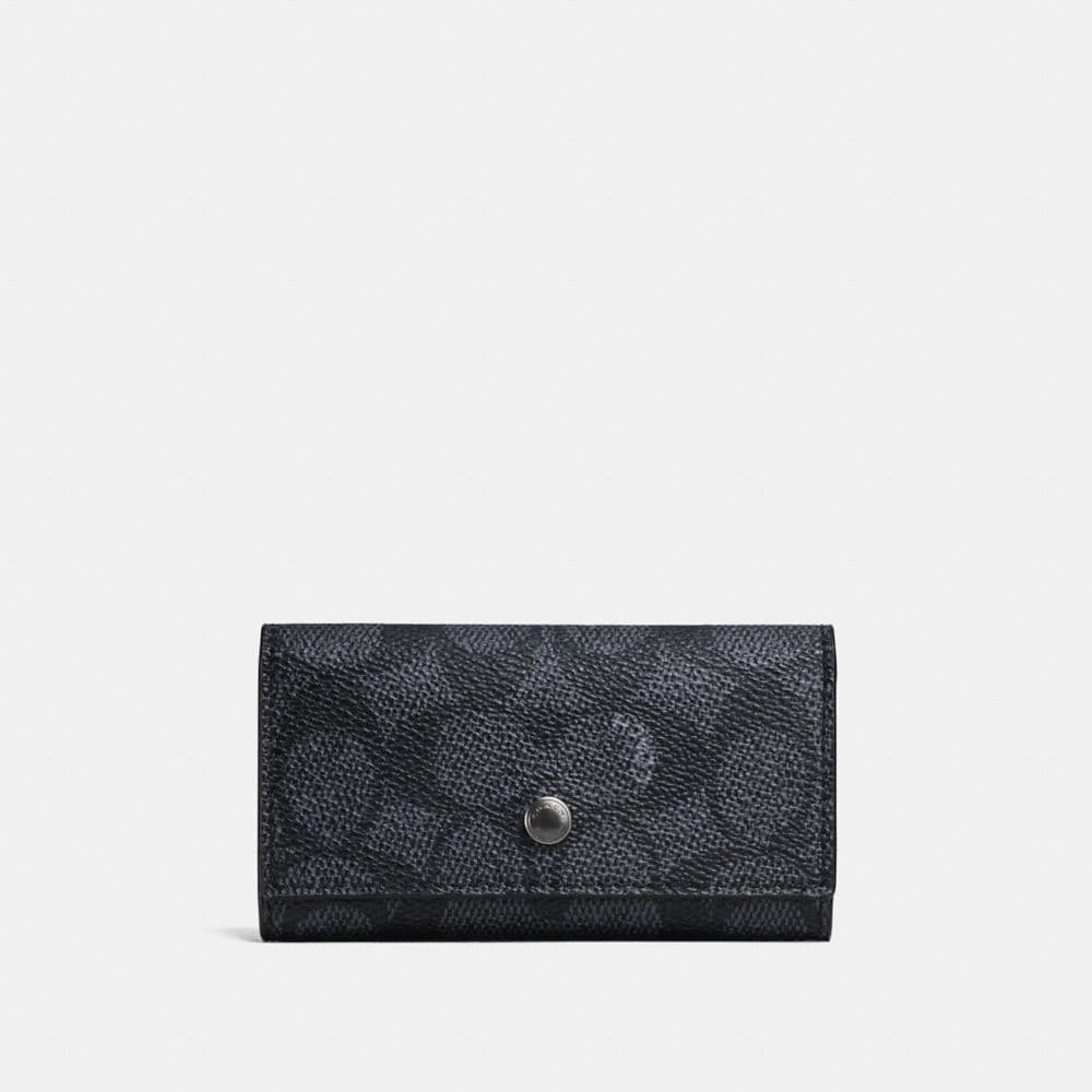 Coach Four Ring Key Case in Signature Canvas