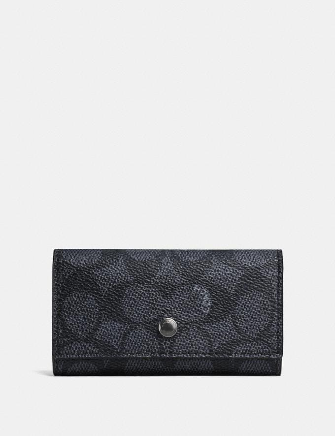Coach Four Ring Key Case in Signature Canvas Charcoal Women Accessories Bag Accessories & Keyholders