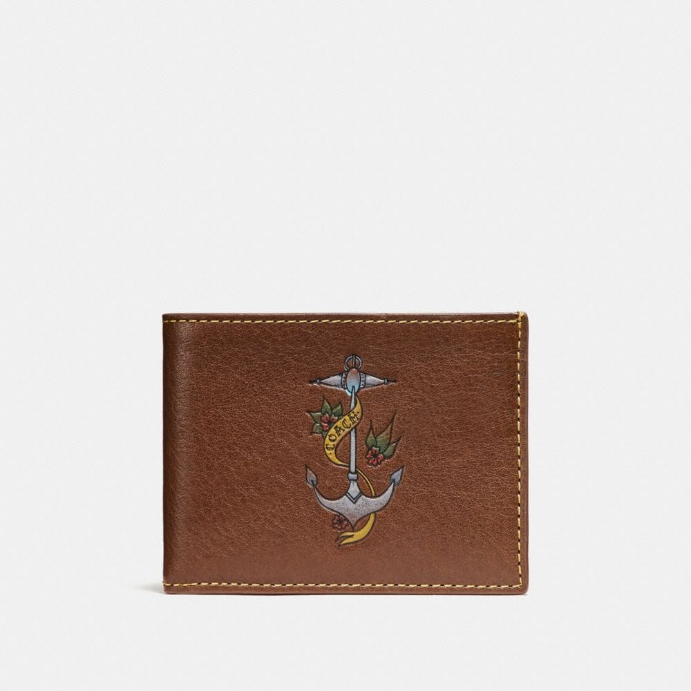 Coach Slim Billfold Wallet With Tattoo