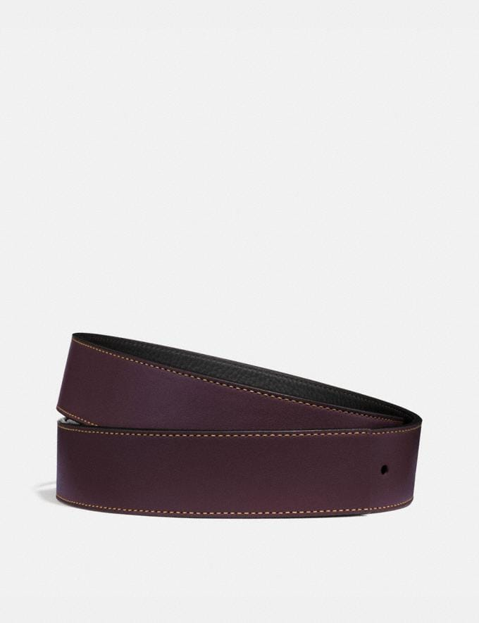 Coach Reversible Belt Strap, 38mm Oxblood/Black Men Accessories Belts